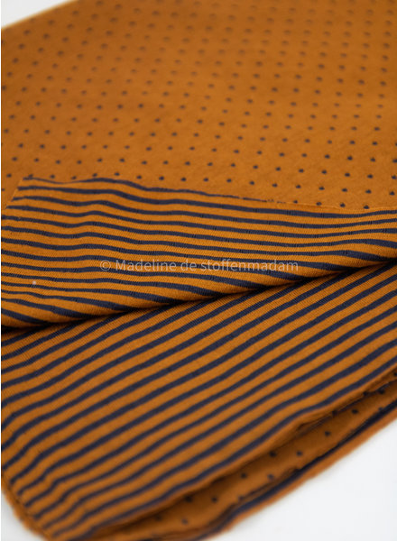 mustard dots and stripes double face - jersey