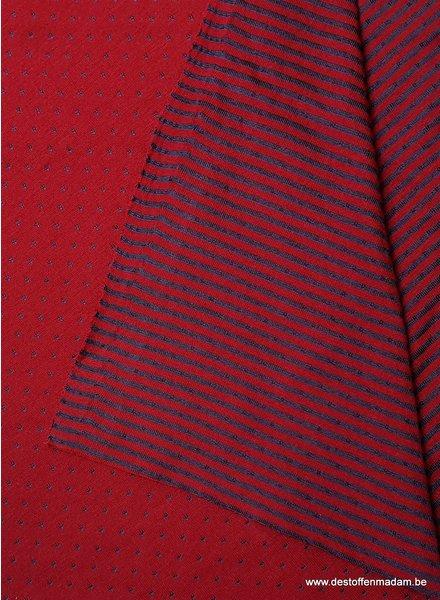 rood bolletjes en streepjes double face - tricot