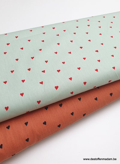 minty hearts - cotton