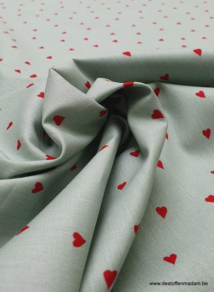 minty hearts - cotton