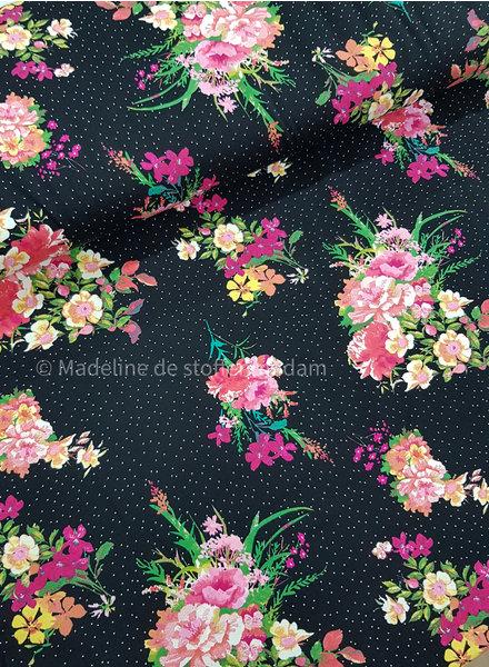 zwart bolletjes en bloemen  - tricot