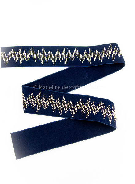 elastic waist band DELUXE studs navy blue 50mm