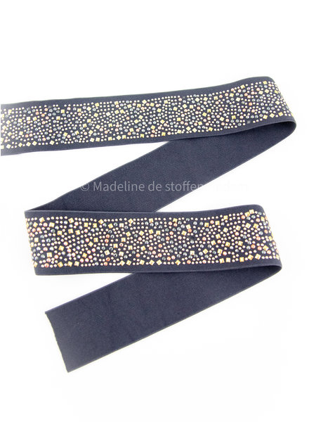 elastic waist band DELUXE color studs grey 50mm