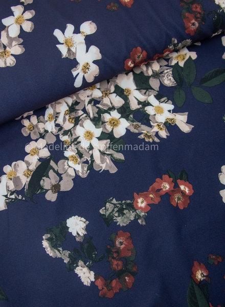 navy - classy flowers - crepe