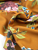 ocre printed flowers - crepe
