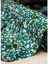 green and ocre flowers - viscose