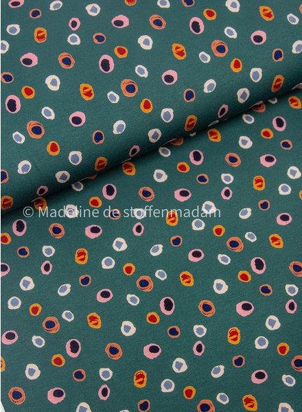 multicolor dots flessengroen - viscose tricot