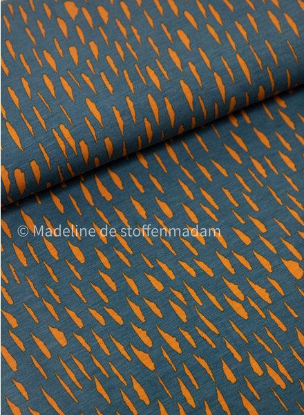 petrolgroen en oker vlekken - modal tencel tricot