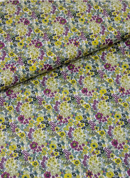 012 geel/paars kleine bloemetjes - liberty look - cotton lawn
