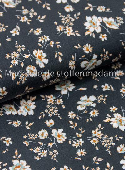flowers black - modal tencel jersey