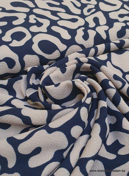 marineblauw leopard - chiffon