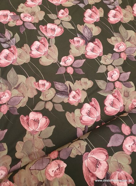 aquarel bloemen - groen/taupe - rekbare heel soepelvallende softskin stof