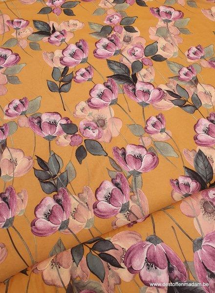 aquarel bloemen - oker - rekbare heel soepelvallende stof