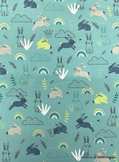 konijntjes en regenbogen tricot - munt blauwgroen