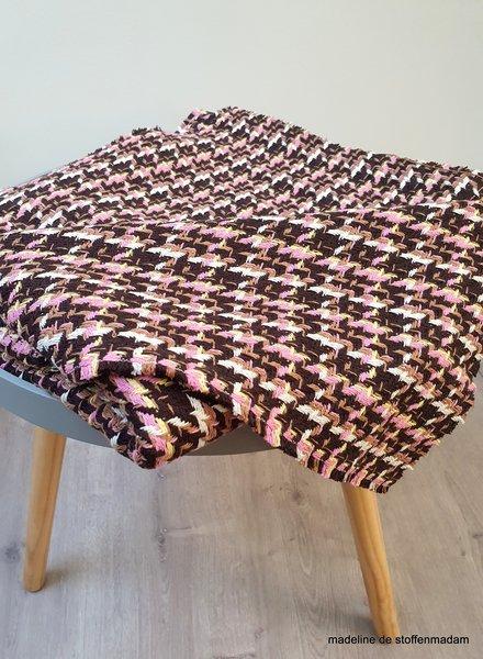 mantelstof - pied de poule roze - cotton blend woven jacquard
