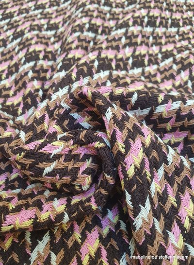 coat fabric -  houndstooth pink - cotton blend woven jacquard