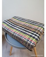 mantelstof - checks with a touch of neon -  cotton blend woven jacquard