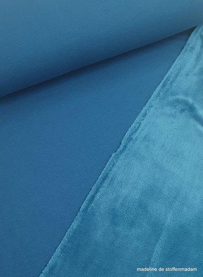 petrolblauw effen happy fleece - zachte jogging