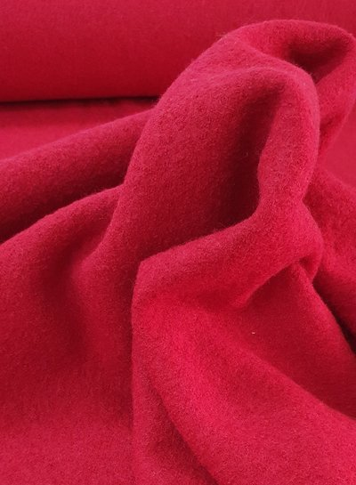 red - boiled wool - bouclé
