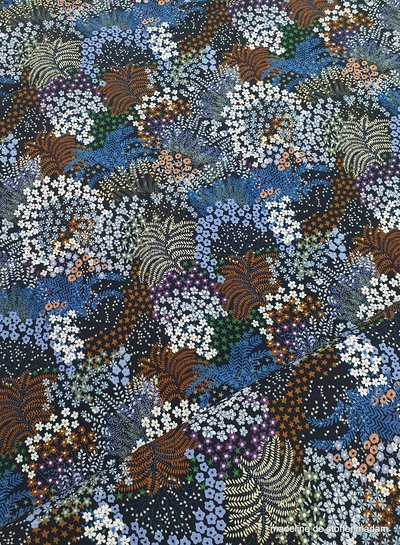 flowers and ferns blue/rust - viscose