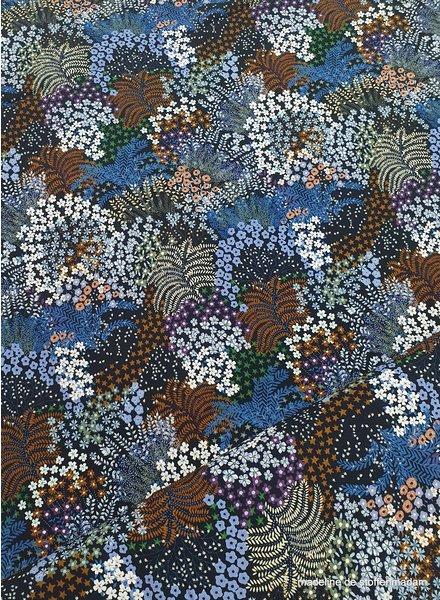 bloemen en varens blauw/roest - viscose