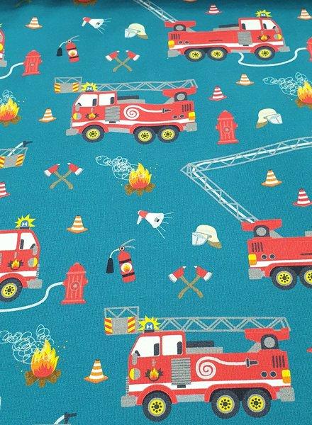 brandweerwagens petrol - tricot