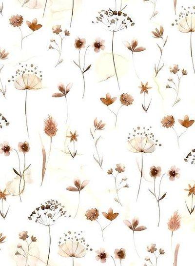 Family Fabrics pressed flowers - jersey