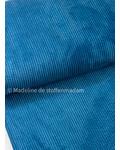 petrolblauw- corduroy - ribfluweel met brede ribbel