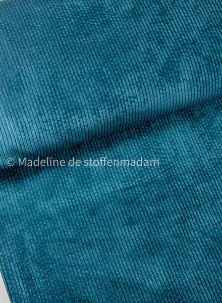 petrolgroen- corduroy - ribfluweel met brede ribbel