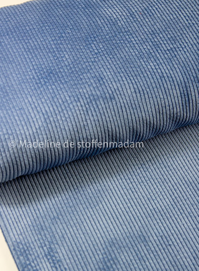 blauw - corduroy - ribfluweel met brede ribbel