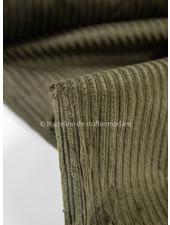 khaki corduroy met brede ribbel - retrolook