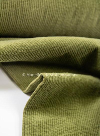 olijfgroen - corduroy - ribfluweel met brede ribbel