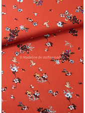 birds and flowers marsala - viscose twill