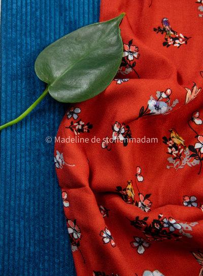birds and flowers marsala - viscose twill