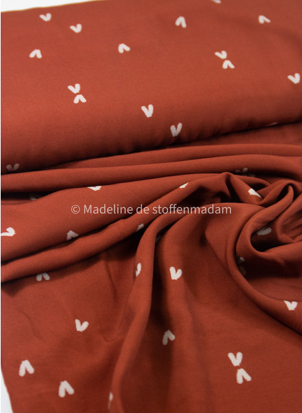 Swafing rust hearts - viscose