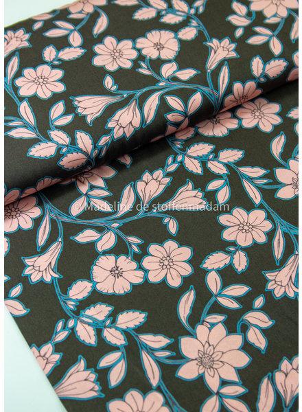 pink flowers  - viscose
