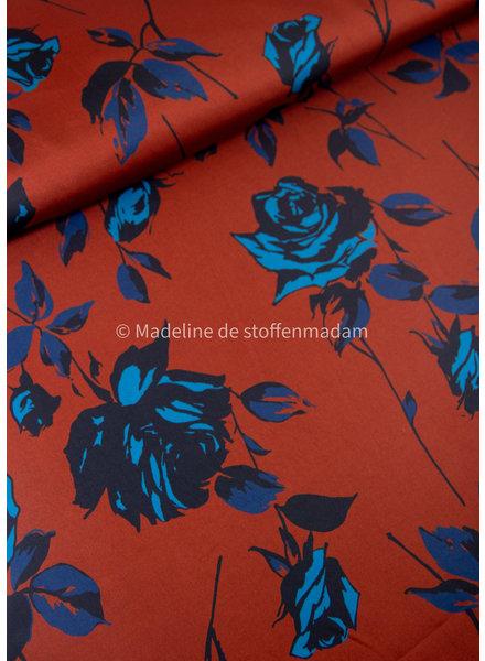 blauwe bloemen - satijn