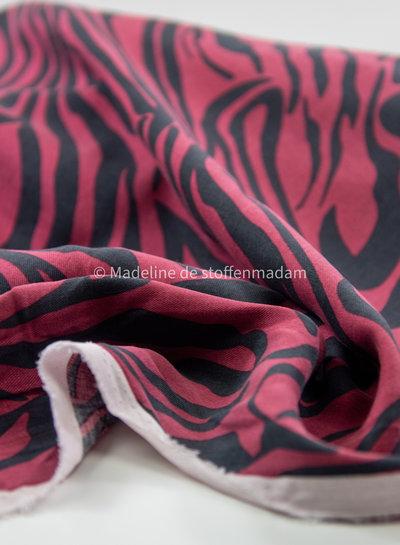 marsala zebra  - viscose twill