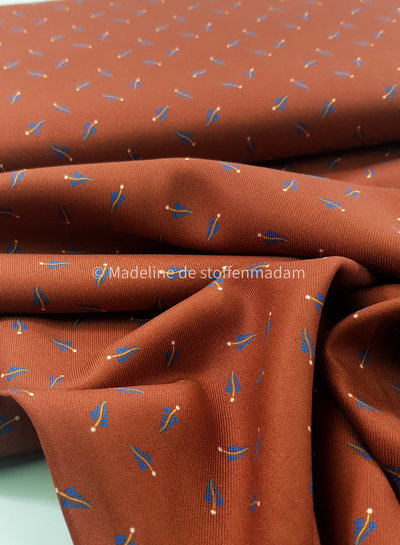 Editex blue feathers - viscose twill