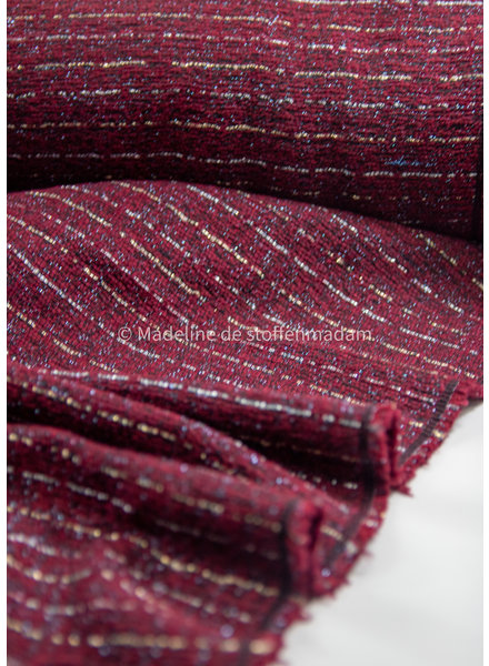 bordeaux met lurex - geweven jacquard