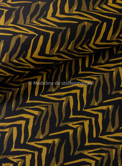 ocre print - woven jacquard with stretch