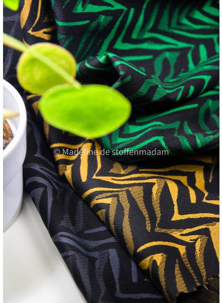 groen print - geweven jacquard stretch