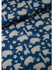 Swafing wildlife silhouette blue - french terry