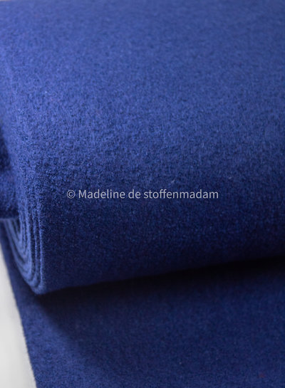 navy - boucle woolen coat fabric