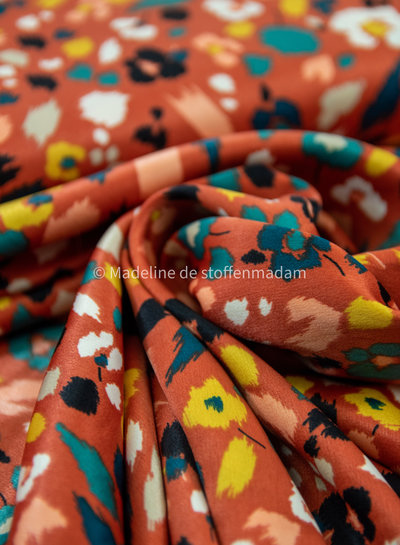 coral flowers - supple polyester fabric