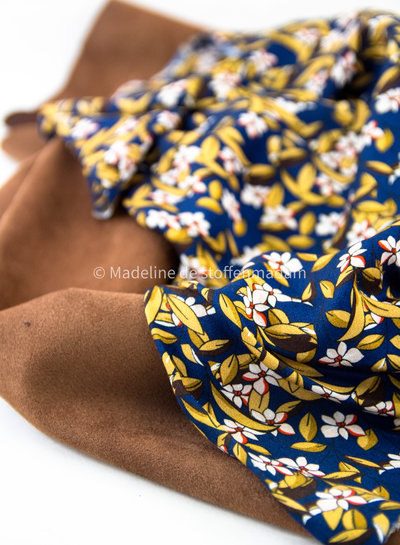 Editex navy leaves - viscose