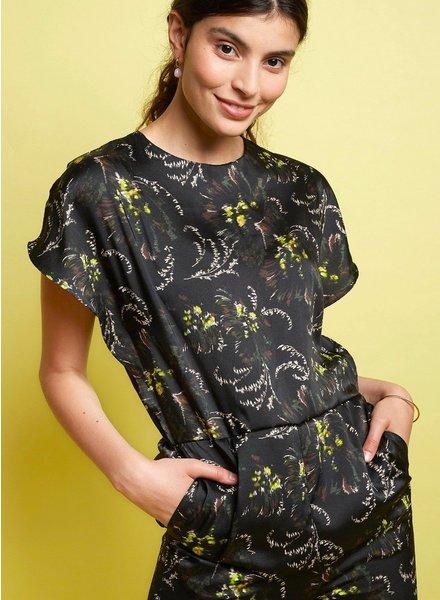 La Maison Victor Eve Jumpsuit - zwart artistieke print - viscose