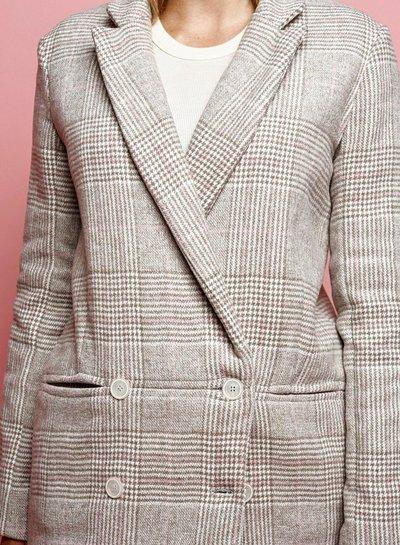 La Maison Victor Nicole blazer - beige mantelstof met ruiten en visgraat motief - double face