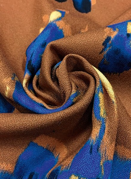 La Maison Victor Nathalie blouse - oker kobalt bloemen - viscose