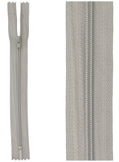 close end zipper- mouse grey color  577